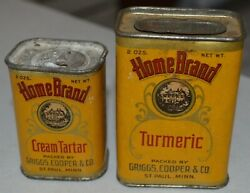 2 Early Home Brand Griggs Cooper St. Paul Mn Spice Tins Turmeric And Cream Tartar