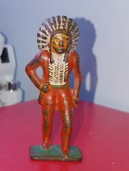 Manoil Cast Iron Indian With Knife 1930 Gray Iron Barclay Dimestore Toy