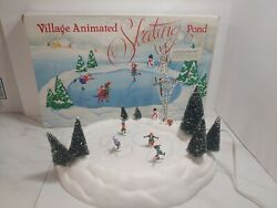 Department 56 Snow Viillage Dept Animated Skating Pond Complete Tested And Working