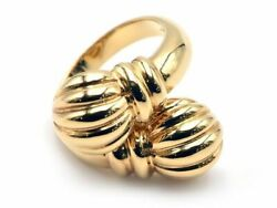 Authentic Boucheron Design Ring Size L1⁄2 K18yg Overlapping Solid Gold Used