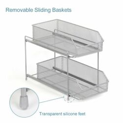 2tier Sliding Cabinet Basket Organizer With Pull Out Drawer For Cabinet Pantry