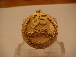14k Beautiful Yellow Gold 35 Year Devotion Pendant With Ruby 10 Grams