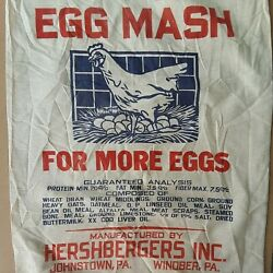 Vintage Hershberger#x27;s Sack Bag Cloth Farm Feed Graphic Windber Johnstown PA Eggs $22.99