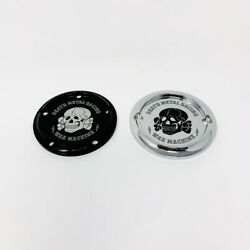 Black Twin Cam Skull W/ War Machine Ignition Cover 5 Hole