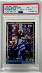 Shaquille Oand039neal Signed 1992-1993 Topps Rookie Card Psa Mt 10 Slabbed 842380860
