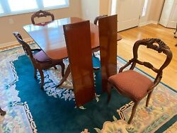 Combo Antique Dining Set By Duncan Phyfe + 4 Victorian Rose Back Chairs