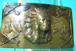 Very Rare 1940's Brass Belt Buckle Indian Chief Arrows Peace Pipe Horse Tee Pee