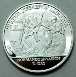 1 Troy Oz 999 Silver Round 1940s Usa Normandy Invasion D-day Proof We The People