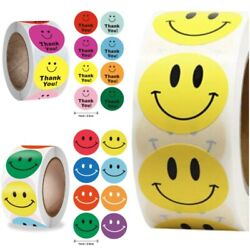 Smiley Face Emoji Thank You Label Stickers 500 Roll Count 1quot; Size $8.90