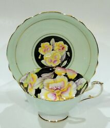Paragon Hand Painted Pansy Cup And Saucer On Black With Pale Green Colorway