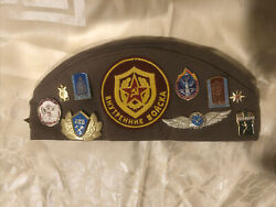 Rare Soviet Union Russian Military Hat And Pins. Ussr Cccp Badges Tank Patch Cap.
