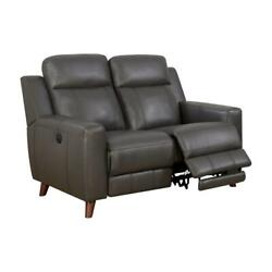 Furniture Of America Soranno Faux Leather Power Reclining Loveseat In Gray