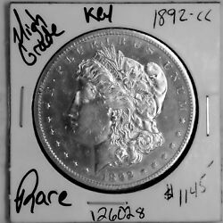 1892 Cc Morgan Silver Dollar High Grade Rare Key U.s. Coin Free Shipping 126028