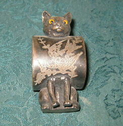 Antique Victorian American Silver Plate Cat Figure Napkin Ring Glass Eyes Rare