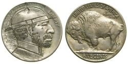 Early Hobo Nickel On Indian Head Buffalo Nickel Unknown Artist Carved On Coin