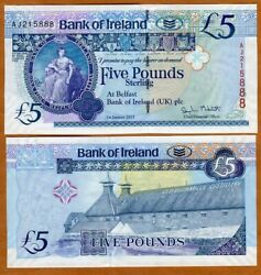 Bank Of Ireland, Northern 5 Pounds, 2013, P-86, Unc Old Bushmill's Distillery