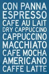 Types Of Coffee Text Only Turquoise Laminated Dry Erase Sign Poster 24x36