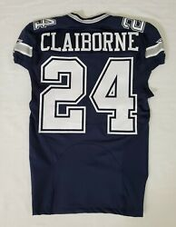 24 Morris Claiborne Of Dallas Cowboys Nfl Locker Room Game Issued Jersey