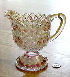 Eapg Cream Pitcher Fine Cut And Block Cranberry King Son And Co. 25 Glass 1870s