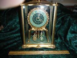 Vintage United French Jeweled Royalty Moving Dancers Glass Domed Electric Clock