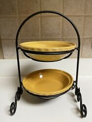 Longaberger Woven Traditions Butternut Pie Baking Plates With Metal Rack