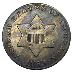 1853 Three 3c Cents Silver Uncertified Coin