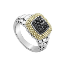 Lagos Caviar Sterling Silver 18k Diamond Lux Ring New 1250.0