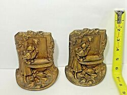 Antique Art Nouveau Lady Maiden And Lion Fountain Bookends Solid Metal Bronze