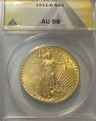 1911-d 20 American Gold Double Eagle St Gaudens Andbull Anacs Au-58 Andbull Lustrous Coin