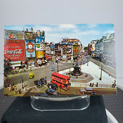 Postcard London Piccadilly Circus Unposted Vnt Cars Coca Cola Coke Bus Skol Bp