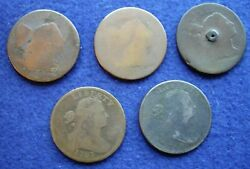 Lot Of 5- 1790s Large Cents- 1794 1795 1796 1797 1798 - Readable Dates Low Grade
