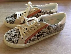 Madewell Sidewalk Sneakers Womenandrsquos 10 Calf Hair Spotted Tennis Shoes Tan Black