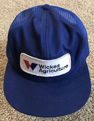 Wickes Agriculture Embroidered Patch Hat Cap K Products Md Usa Snapback Mesh Vtg
