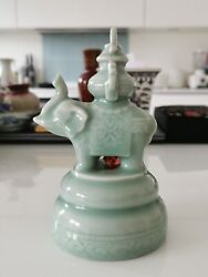 1950s Chinese celadon porcelain elephant bell #8 Home clearance