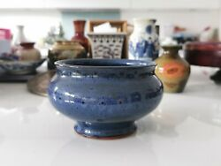 20th century blue glazed pottery pot planter #16 Home clearance
