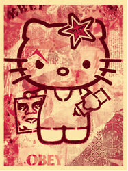 Shepard Fairey - Hello Kitty Signed Print Edition Of 250 Obey Giant
