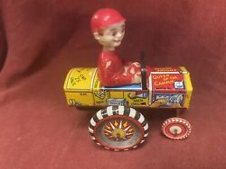 1940and039s Marx Campus. Tin Wind Up Bobble Head Crazy Car.