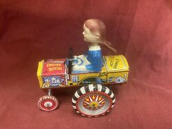 1940and039s Marx Dipsy Dora Queen Of The Campus. Tin Wind Up Bobble Head Crazy Car.