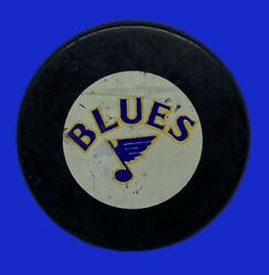 1983-84 St. Louis Blues In Glas Co Official Game Puck Nhl