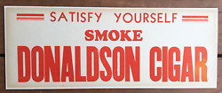 1930's Donaldson Cigar Sign Mounted On Thick Cardboard
