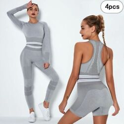 Adult Womens Yoga Suit Workout Sportswear Body Fitness Gym Active Wear Pair Sets