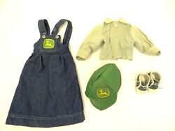 Vintage John Deere 22 Girl Doll Clothing Accessories Overalls Shoes Hat Used