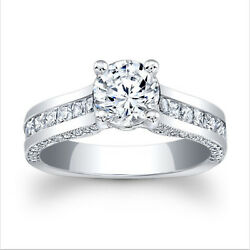 Brillant Coupe Solide 14k Or Blanc 2.21 Ct Moissanite Fianandccedilailles Taille Bague 6