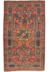 Vintage Tribal Oriental Qashqai Rug 6and039x10and039 Red Hand-knotted Wool Pile
