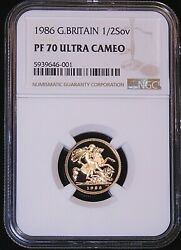 1986 Great Britain Gold 1/2 Sovereign Ngc Pf70 Ultra Cameo Just Graded Pq D13