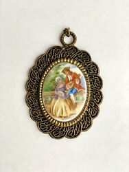Vintage Limoges Hand Painted China Pendant