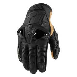 Icon Hypersport Pro Short Motorbike Motorcycle Leather Gloves Stealth Black