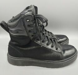 Dr Martens Womens 7 Fade Pony Black Boot 10 Hole Hi Top Italian Hair On Leather