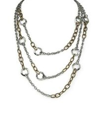 Patricia Nash Triple Chain Hammered Link Multi-strand Necklace Nwt/bag Hsn 89