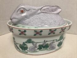 Vintage Casserole Dish With Lid Ceramic Candy Dish Easter Bunny Hand Painted